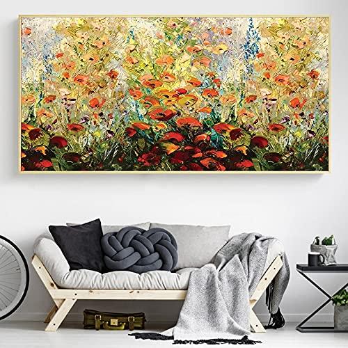 Abstraktes Messer Blumen Leinwand Malerei Bäume Wandkunst Druck Poster Bild Dekorative Malerei Wohnzimmer Home Decoration 50x100 CM (Kein Rahmen)