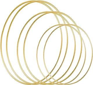 DILNAZ ART 6 Pack 3 Sizes (12, 16 & 19 Inch) Large Metal Floral Hoop Wreath Macrame Gold Hoop Rings for Making Wedding Wre...