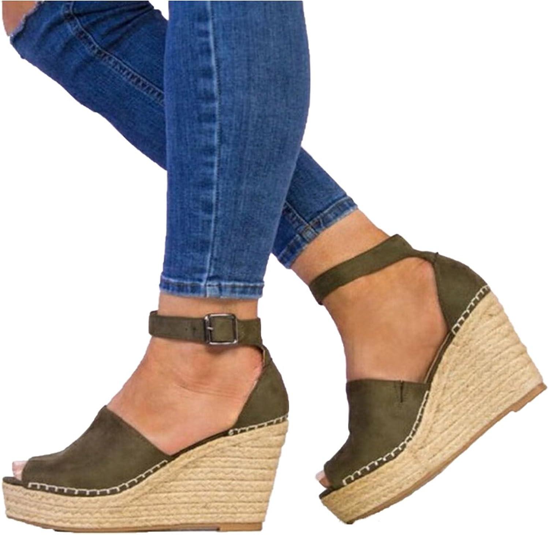 Genepeg Womens Sandals Summer Platform 8CM High Heels Peep Toe Cover Heel Wedges Pumps