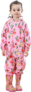TOPTIE Unisex Baby Muddy Buddy One Piece Rain Coverall, Outdoors Rain Suit-Pink-S