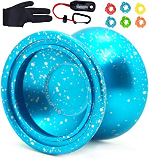 Magicyoyo&iyo Purple Line Yo-yo Ball Aluminum6061 Unresponsive Yo-yo with Stainless Center Bearing and Stainless Axle - Blue Splash Silver with Glove, Yoyo Holster, 6 Strings
