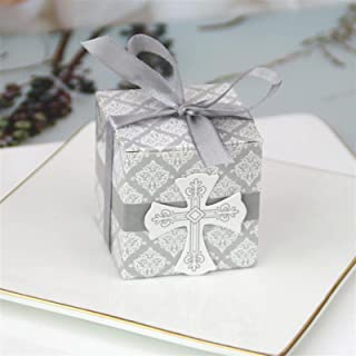 Gift Box 50/100 Pieces Cross Candy Box with Band Favor and Gift Box for Baby Shower Baptism Birthday Wedding Decoration Pa...