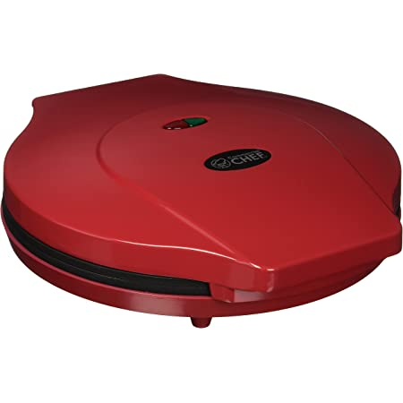 Commercial Chef CHQP12R 12-Inch Pizza Maker, 12 Inch, Red