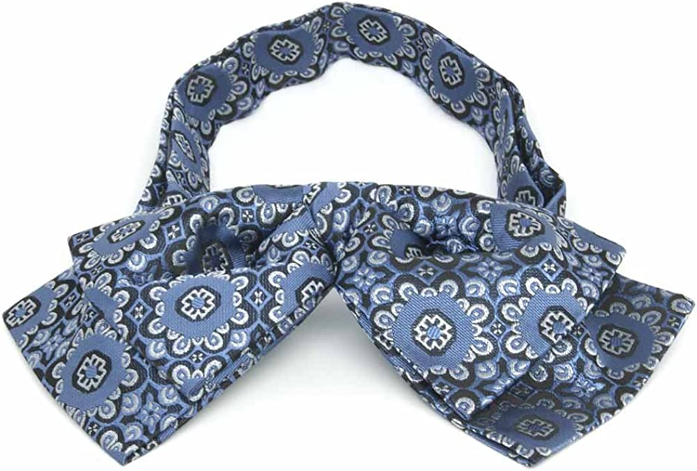 TieMart French Blue Emma Floral Pattern Floppy Bow Tie