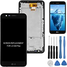 for LG K20 Plus Screen Replacement Black, Full LCD Assembly With Touch Screen Digitizer and LCD Pre-installed Replacement With Frame Housing