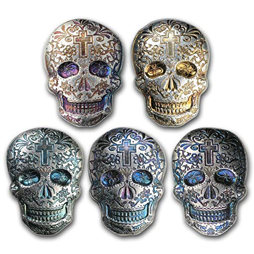 Cross - 3-D -New-2 oz. 999 Fine Silver Sugar Skulls Hand Poured - Day of The Dead