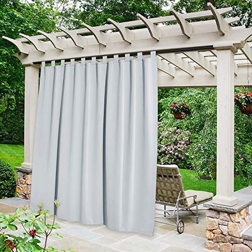nicetown home patio curtains NICETOWN Outdoor Patio Curtain Room Divider Waterproof, Outdoor Blind with Detachable Tab Top Sunlight Blocking Heavy Weight Protect Sun & Rain Out for Pergola, W84 x L108, Greyish White, 1 Panel