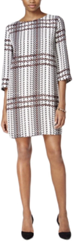 Bar Iii Printed Shift Dress, Egret Combo, XSmall