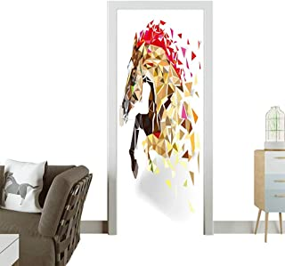 3D Photo Door Murals Horse Low Polygon in Watercolor Filter,Multi Color Horse in Action Power Easy to Clean and Apply W38.5 x H77 INCH