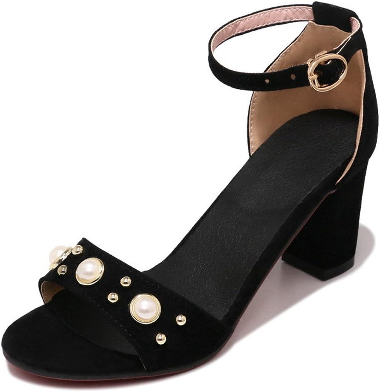 Women's Summer Sandals Fashion High Heels Leisure Comfortable Toe Ankle Pumps 34-43,Black,37
