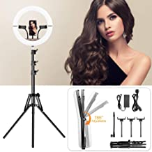 $78 » Foldable Selfie Ring Light with Tripod Stand, 14 inch Dimmable, 3 Color Modes and 10 Brightness, Heighten Hose, Phone Holder, Ring Light Kit for YouTube, Live Streaming, Video Shooting