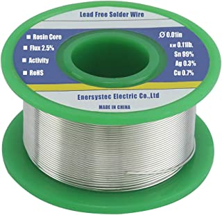 Ultra-Thin Solder Wire 0.01in (0.3mm) Rosin Core Flux 2.5%, Lead Free Solder Wire Sn99 Ag0.3 Cu0.7 Flow 0.11lb. for High Precision Electronics Soldering