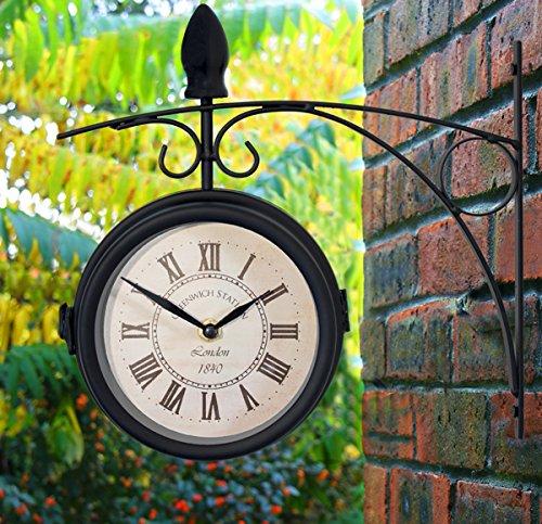 About Time Greenwich Drehbare Gartenstation Wanduhr mit Thermometer in schwarz für Garten Terrasse Baldachin mit erstaunlicher Station Wanduhr Design - 15 cm (6 Zoll)