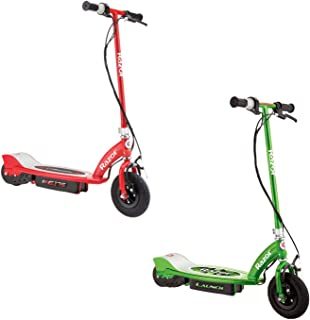 Razor E175 Kids Ride On 24V Motorized Battery Powered Electric Scooter Toy, Speeds up to 10 MPH with Brakes and Pneumatic Tires, 1 Red & 1 Green