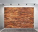 Yeele 7x5ft Retro Brick Backdrop Vinyl Cloth Vintage Brown Brick Wall Texture Photography Background Party Booth Banner Newborn Baby Adult Portrait Wallpaper Photo Video Shooting Studio Props