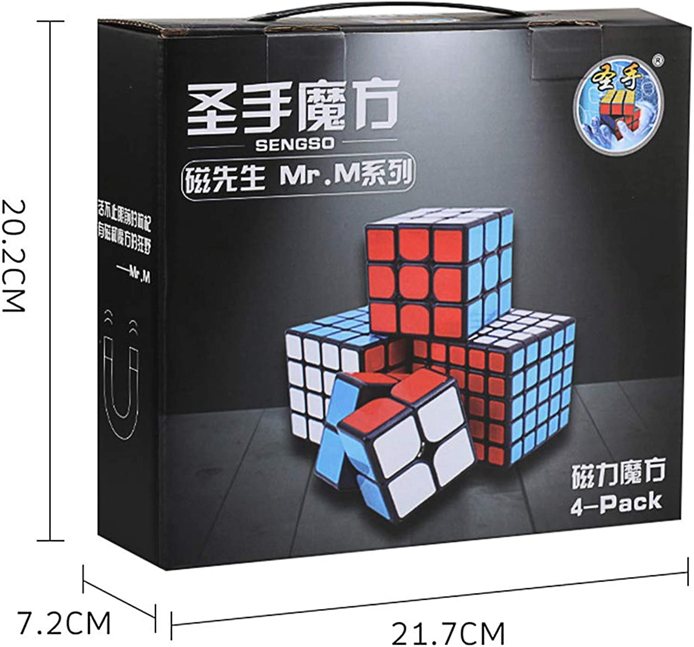 PinShang 4Pcs Professional Smooth Magnetic Magic Cubes Game Toys Set