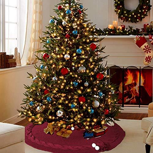 XDLUK Weihnachtsbaumdecke Weihnachtsbaum Rock Gestrickt Christbaumdecke Rund Weihnachtsbaumständer Teppich Weihnachtsdekor für Weihnachten Weihnachtsbaum,Rot