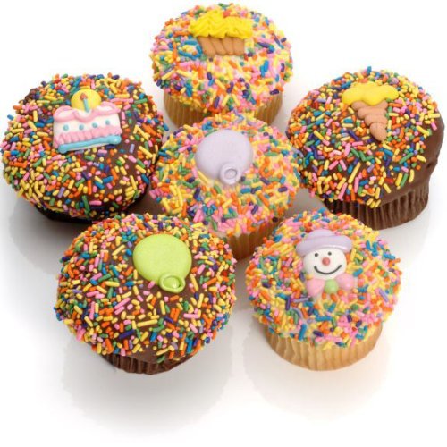 Birthday Belgian Chocolate Gourmet Cupcakes 6 Pack
