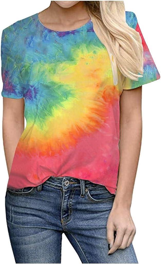aihihe Tie Dye Shirts for Women Plus Size Tops Summer Casual Short Sleeve Loose T Shirt Junior Teen Girls Gradient Tees