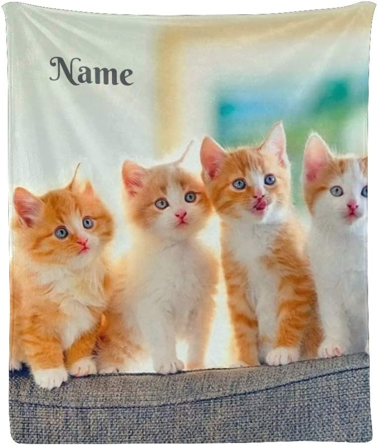 CUXWEOT Our shop most popular Personalized Blanket with Name Ranking TOP18 Sof Text Funny Cat Custom