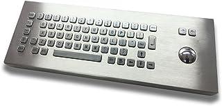 Desktop Metal Keyboard with 38mm Trackball - Waterproof and Vandalproof - Customizable Layout - USB/PS2