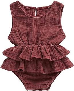 Faithtur Baby Girls Romper Dress Breathable Sleeveless Ruffle Bodysuit Summer Outfit Toddler Girl Clothes