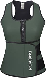FeelinGirl Neoprene Sauna Suit Tank Top Vest with Adjustable Waist Trimmer Belt