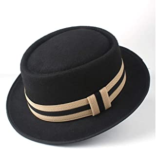 2019 Mens Womens Hats Unisex Men Women Flat Top Hat Feather Soft Pork Pie Hat Trilby Hat Panama Jazz Hat Flat Boater Porkpie Hat Outdoor Casual Hat Outdoor Wild (Color : Black, Size : 58)