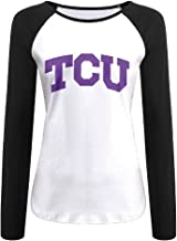 Creamfly Womens Texas Christian University TCU Long Sleeve Raglan Baseball Tshirt
