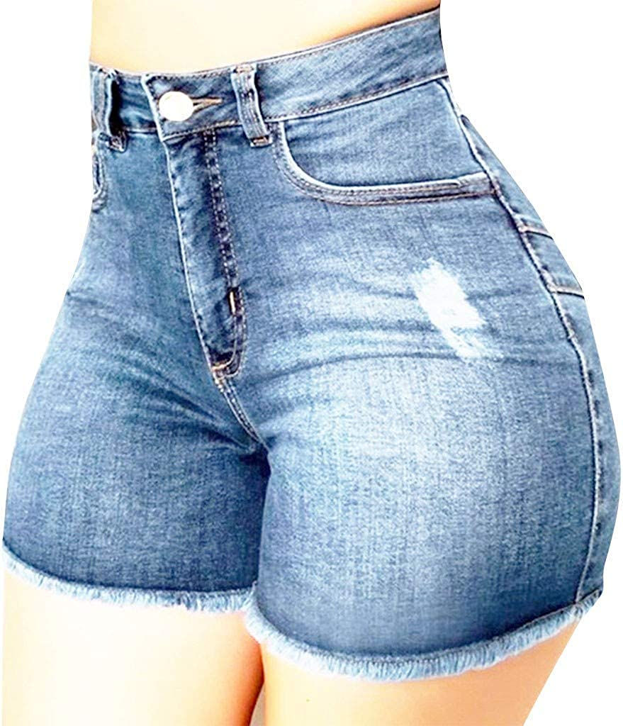 Depslee Women's Denim Shorts, Short Jeans with Stretch Frayed Frayed Hem, Summer Women's Denim Shorts hot Pants with Pockets (Z2-Light Blue,XX-Large)