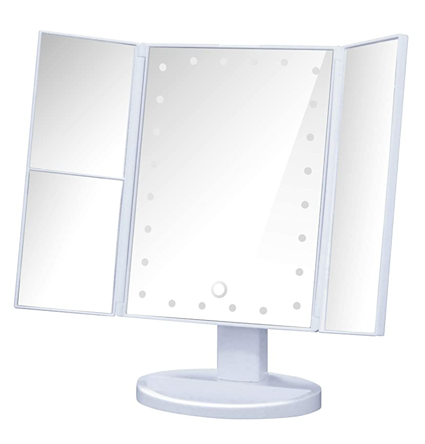 種類ベルト影響を受けやすいです化粧鏡 LED 三面鏡 卓上鏡 鏡 拡大鏡付き ライト付きメイクアップ用卓上ミラー (ホワイト)