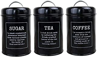 Dolity Canister Set for Coffee Tea Sugar - 3 Piece Kitchen Storage Jars with Airtight Lid, Food Containers Storage Tins - ...
