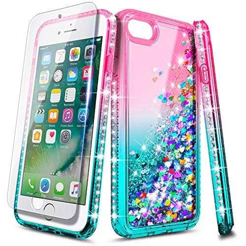 E-Began iPhone 8 Plus Case, iPhone 7 Plus /6 Plus /6S Plus with Tempered Glass Screen Protector, Sparkle Glitter Flowing Liquid Quicksand w/Bling Diamond, Durable Girls Cute Phone Case (Pink/Aqua)