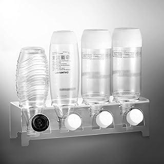 ecooe Ociekacz ze szkła akrylowego do np. butelek SodaStream i Emil miejsce na 4 butelki i 4 pokrywki, nadaje się do mycia...