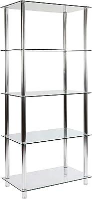 STILISTA Designer Glasregal Standregal 5 Ebenen (H) 137 cm x (B) 60 cm, 5mm Sicherheitsglas mit verchromten Aluminium Tubes