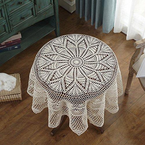 Qiao jin Tischdecke Vintage Gehäkelte Tischdecke Beige Tischdecken Couchtisch TV Schrank Runde Tischdecken (Farbe : Beige, größe : Round-150cm)