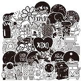 RUI - K25 Popular Lindo Blanco y Negro Maleta Fresca Tendencia Trolley Maleta niña niño Dibujos Animados Graffiti...