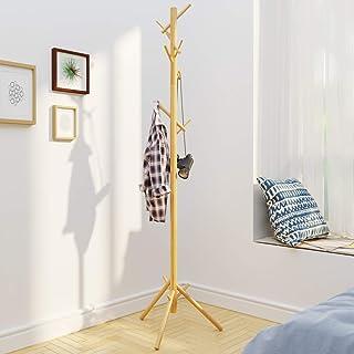 BAMEOS Coat Rack Free Standing, Coat Tree Coat Hanger Stand NO Tools Required- 3 Adjustable Sizes Coat Rack Stand for Clothes, Hats, Handbags, Umbrella (8,Hooks,Natural Color)