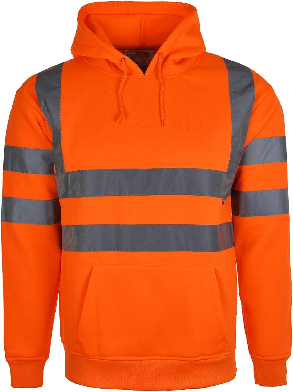 Hi Vis High Visibility Sweatshirt Hooded Jumper Fleece Workwear Hoodie