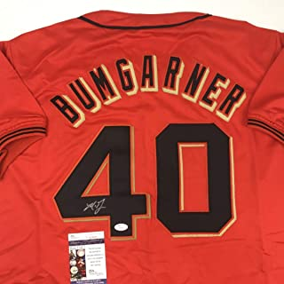 Autographed/Signed Madison Bumgarner San Francisco Orange Baseball Jersey JSA COA