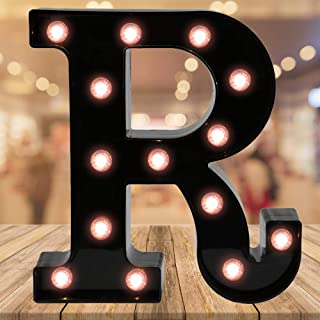 Oycbuzo Light up Black Alphabet Marquee Letters Sign LED Letter Lights for Home Bar Festival Birthday Party Wedding Decorative (Black Letter R)