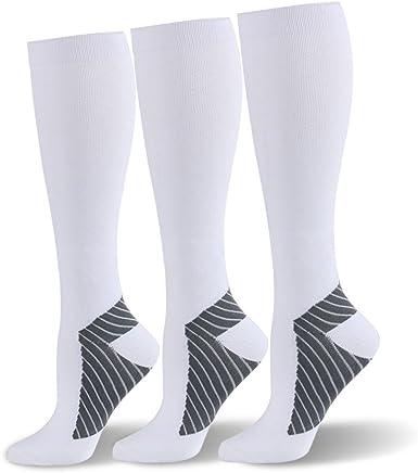 (S/M, White Sport, 3 Pairs) - HLTPRO Compression Socks for Men & Women 20-25 mmHg - 3 to 6 Pairs Graduated Compression Stockings Best for Running, Nurses, Shin Splints, Flight Travel & Maternity Pregnancy
