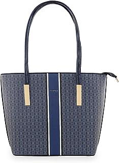 ESBEDA Blue Color Logo Printed Basket Handbag For Women
