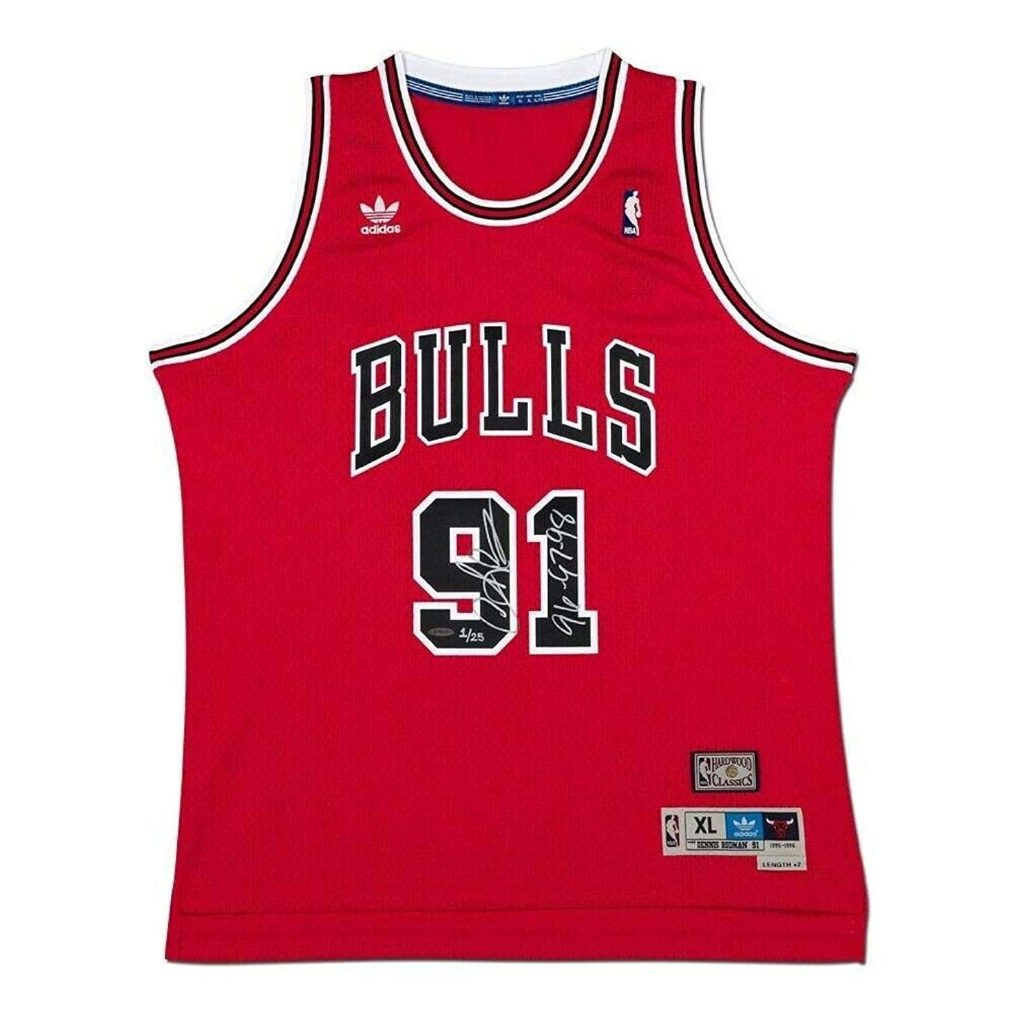 Autographed Dennis Rodman Jersey - Swingman Red Inscribed #/25 - Upper Deck Certified - Autographed NBA Jerseys