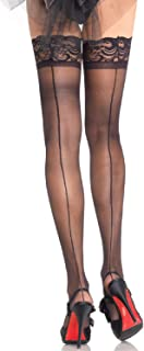 Leg Avenue Womens Corset Lace Top Cuban Heel Backseam Stockings