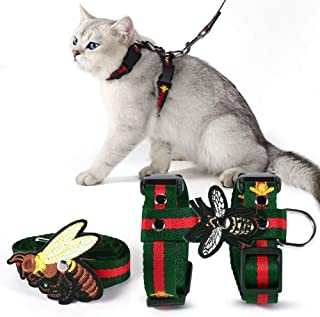 Unihubys Cat Harness with Leash Set- Adjustable Embroidered Bee H Style Harness and Leash for Walking (L, Green)