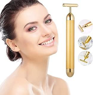 24K Gold Beauty Bar Facial Roller Face Anti-Wrinkle Face Lift Firm Vibration Massage T Shape Skincare Anti-aging