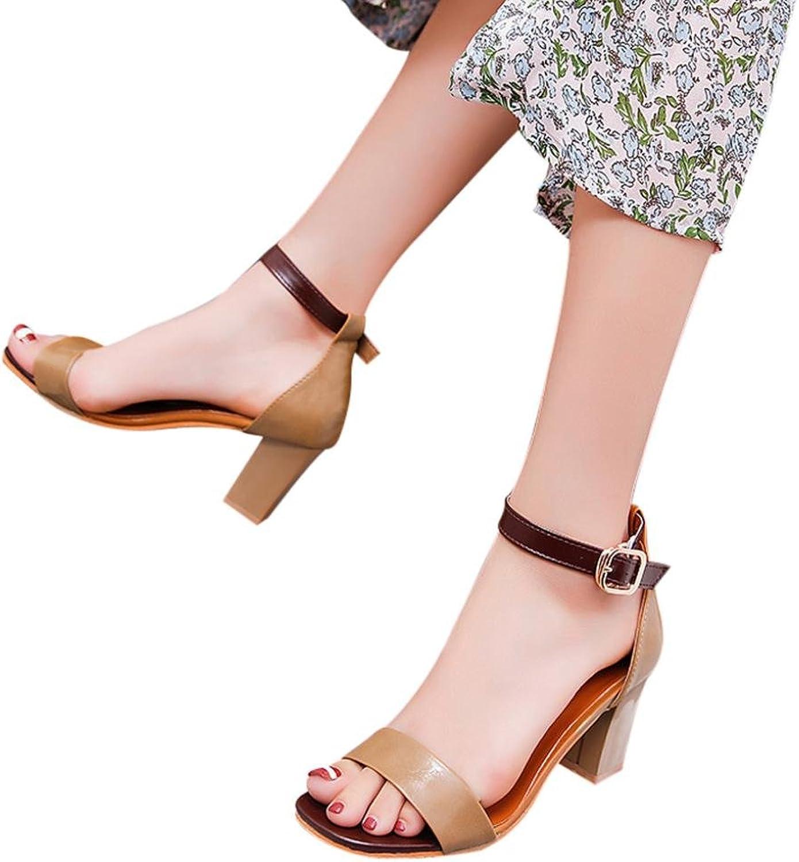 Fheaven Women's Sandals Ankle Strap Open Toe Block High Heeled Sandal Black