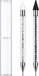 Rhinestone Picker Dotting Pen, Dual-ended Rhinestone Gems Crystals Studs Picker Wax Pencil Pen Crystal Beads Handle Manicure Nail Art DIY Decoration Tool (2 Pieces, Black White)