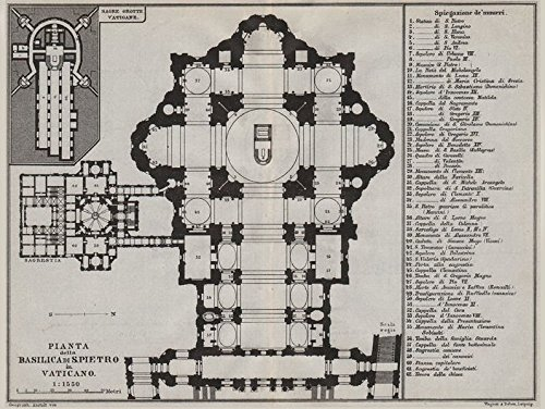 St Peter's Rome. Basilica di San Pietro in Vaticano. Pianta floor plan - 1909 - old map - antique map - vintage map - Vatican map s